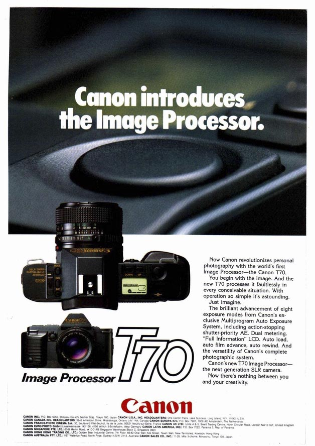 Canon Advertisement for T70 SLR