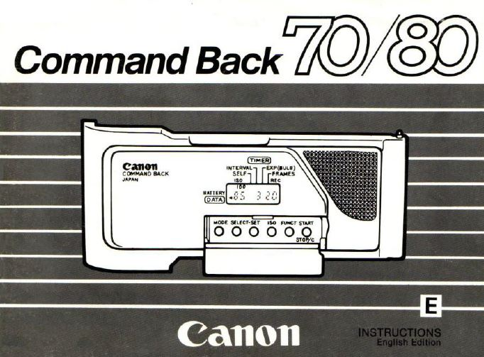 Instruction Manual for Canon Data Back 70-80