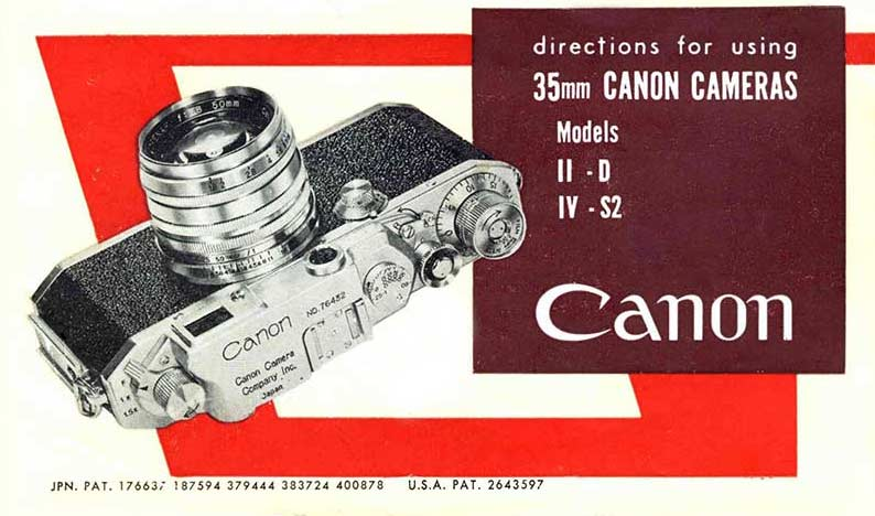 Instruction Manual for Canon IID and IV S2