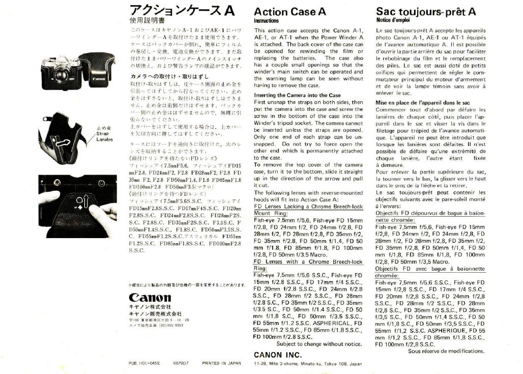 Instructions for Canon Action Case A