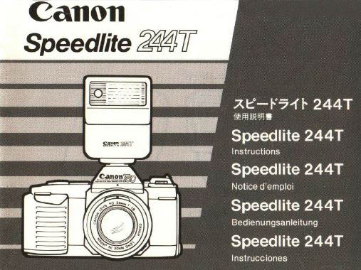 Instruction Manual for Canon Speedlite 244T