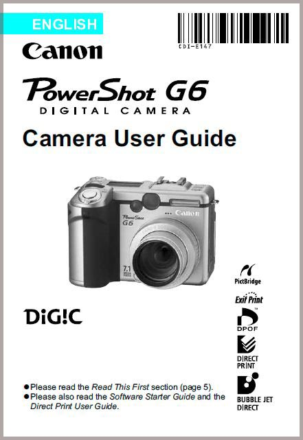 Instruction Manual for Canon G6