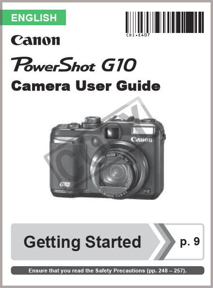 Instruction Manual for Canon G10