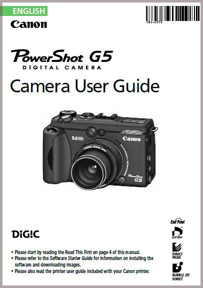 Instruction Manual for Canon G5