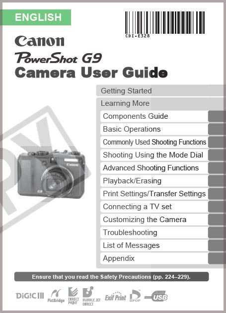 Instruction Manual for Canon G9