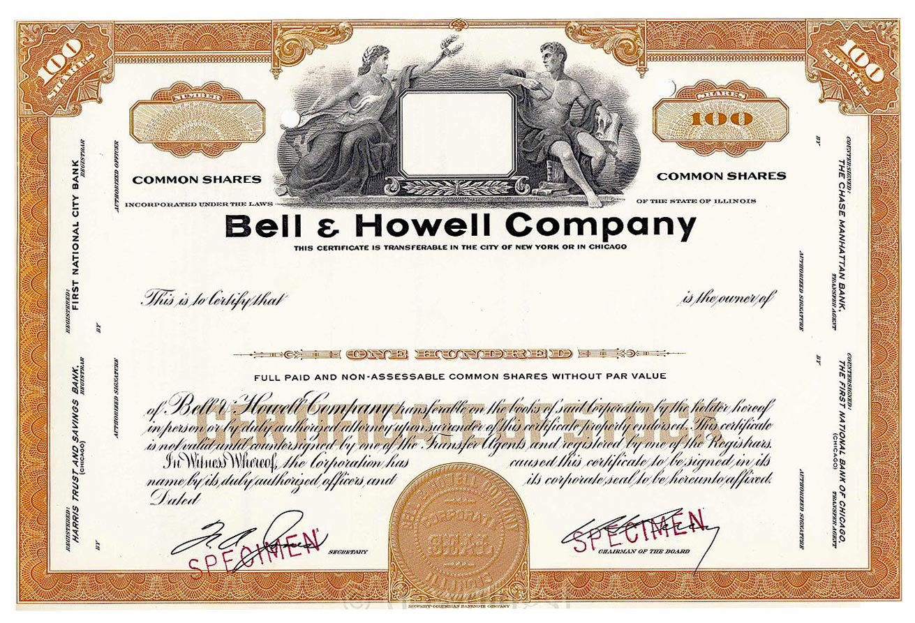 Bell howell flynngraphics this is a stock certificate a sample one and not an actual issued share certificate for the bell howell company image courtesy of wikipedia 1betcityfo Choice Image