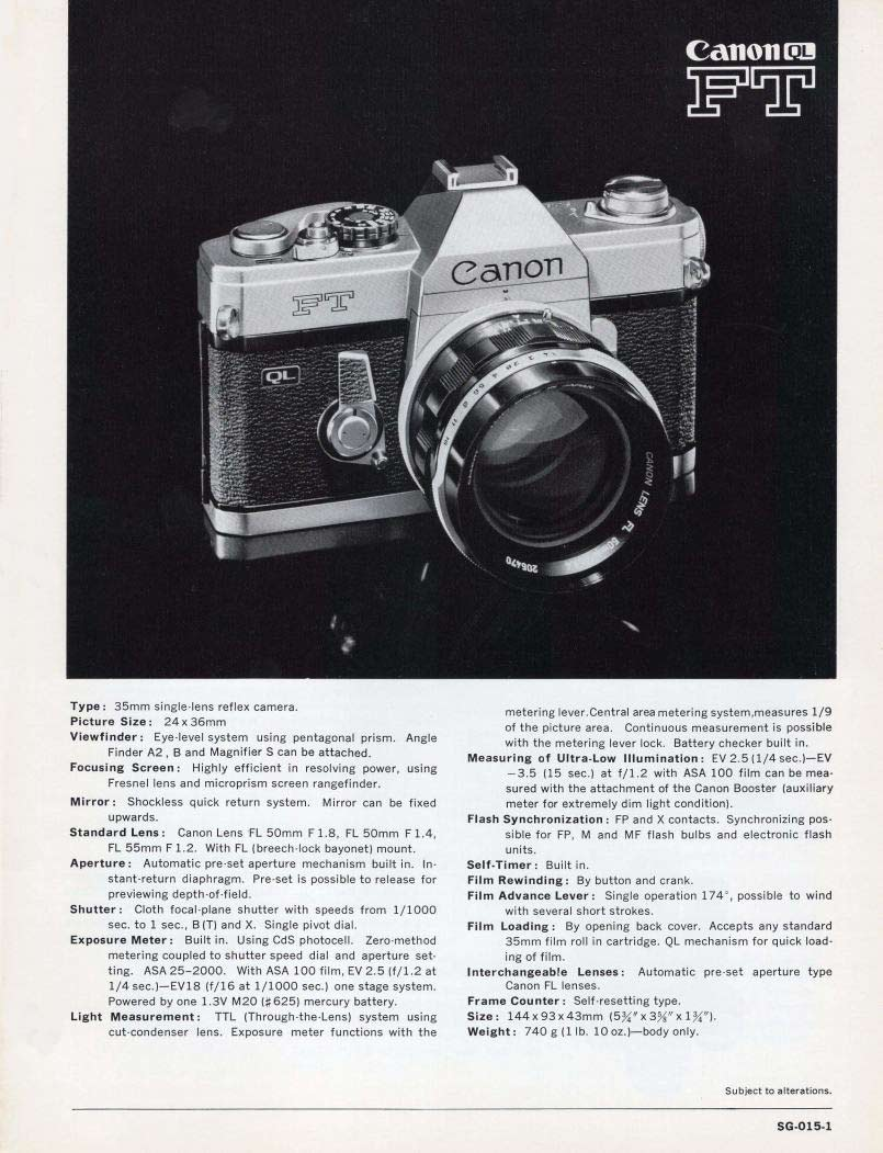Instruction Manual for Canon Pellix Camera