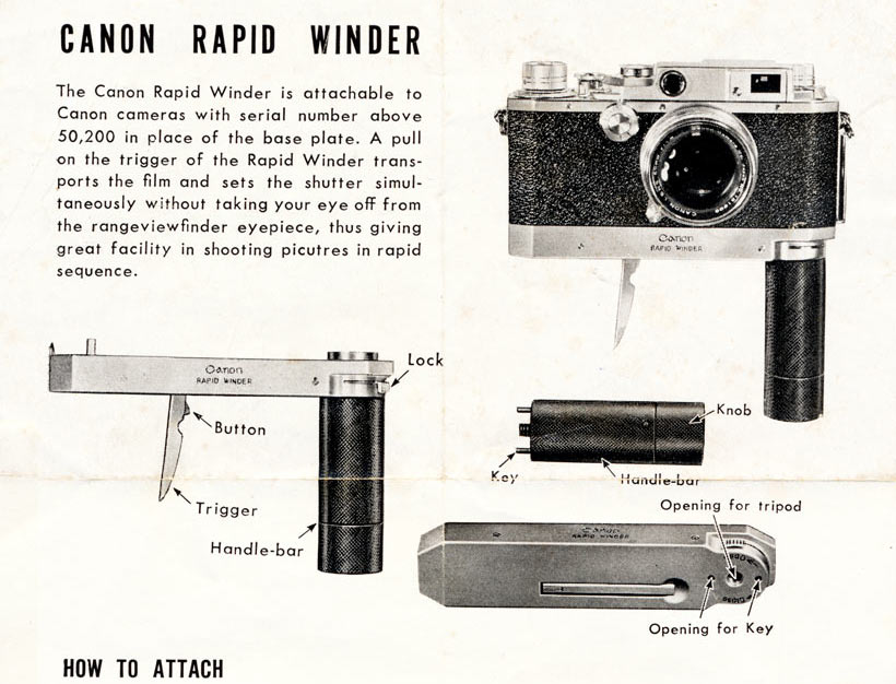 Canon Rapid Winder User Instructions