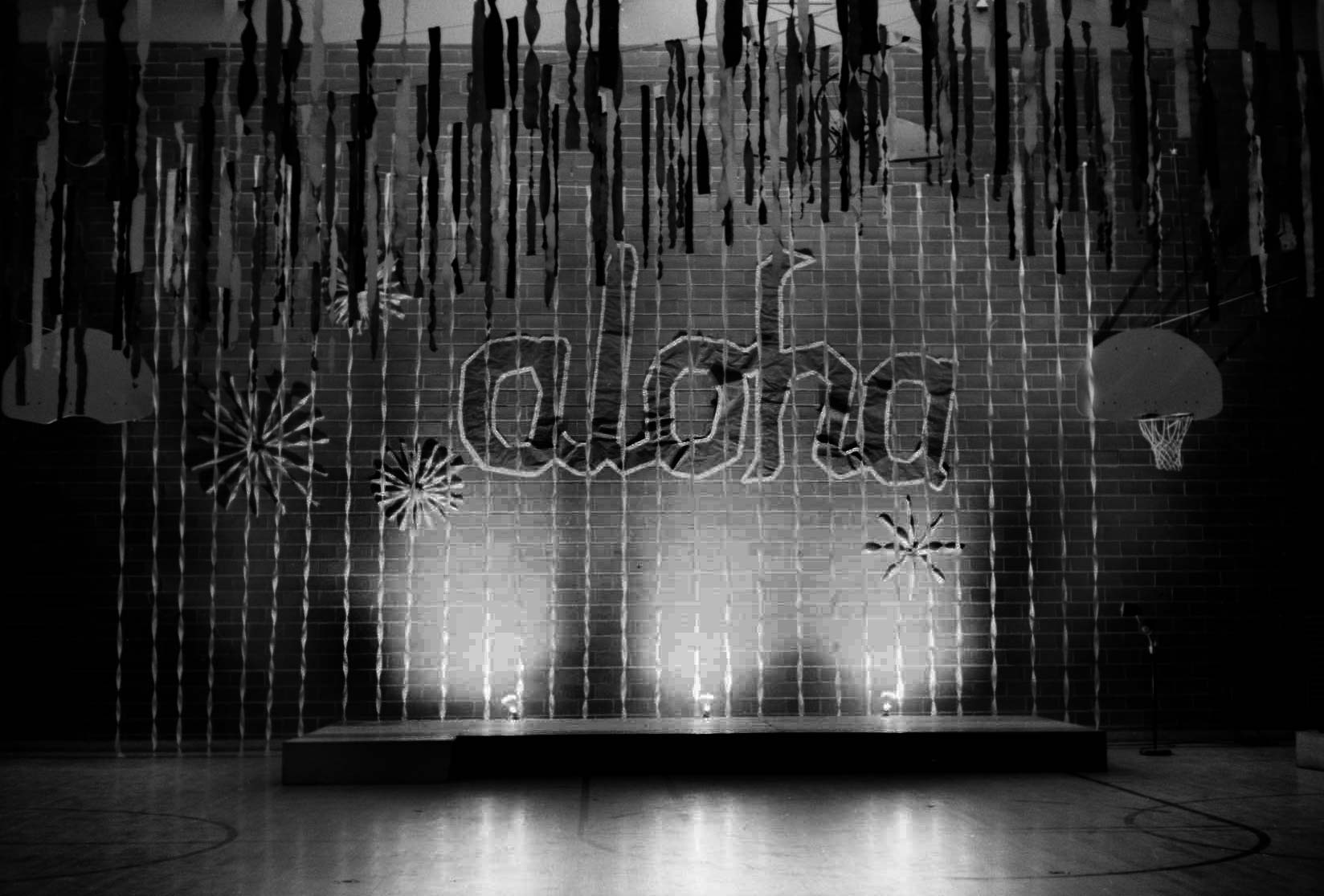 The decorated stage at the Aloha Formal before the students arrived.