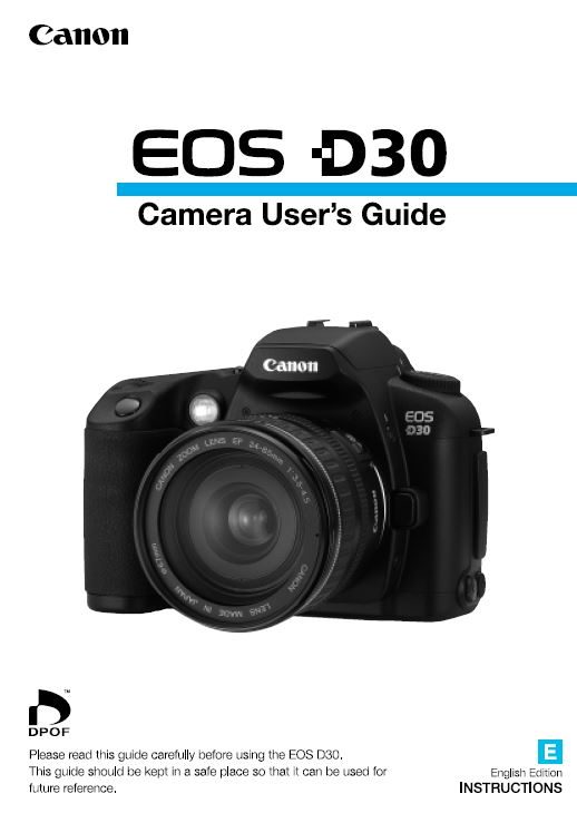 Instruction Manual for Canon D30 Camera