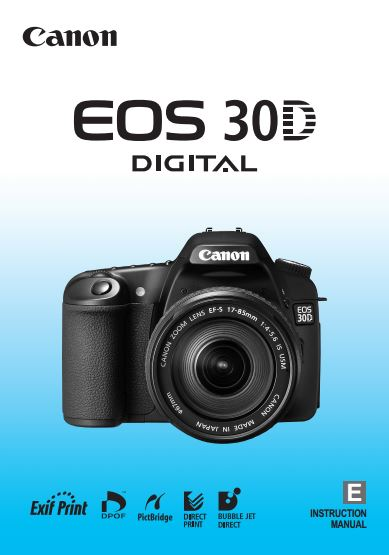 Instruction Manual for Canon EOS 30D Camera