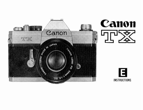 Instruction Manual for Canon TX Camera