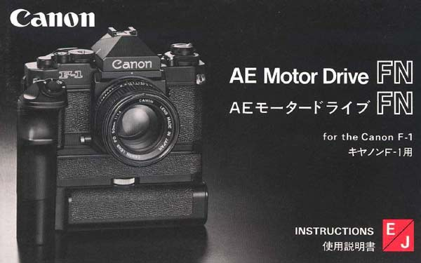 Instruction Manual for Canon AE Motor Drive FN