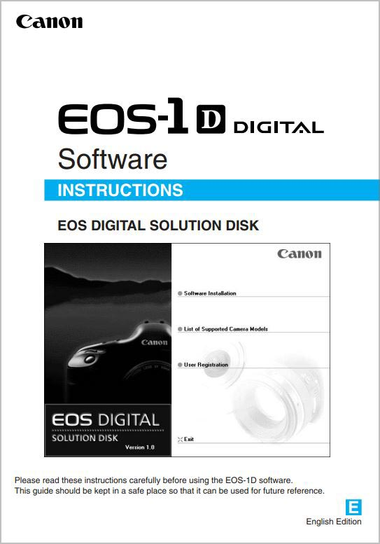 Instruction Manual for Canon 1D Software