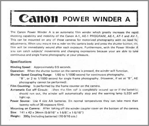 Instruction Manual for Canon Power Winder A