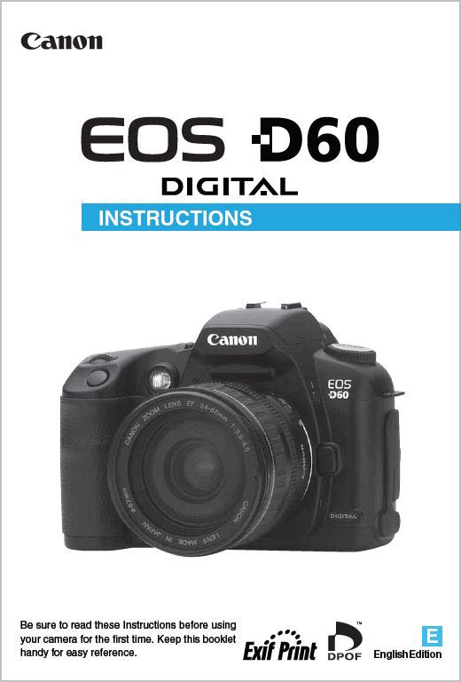 Instruction Manual for Canon EOS D60