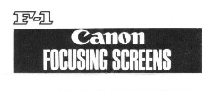 Canon Focusing Screens Manual