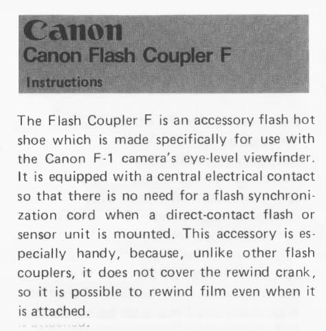 Canon Flash Coupler F User Manual