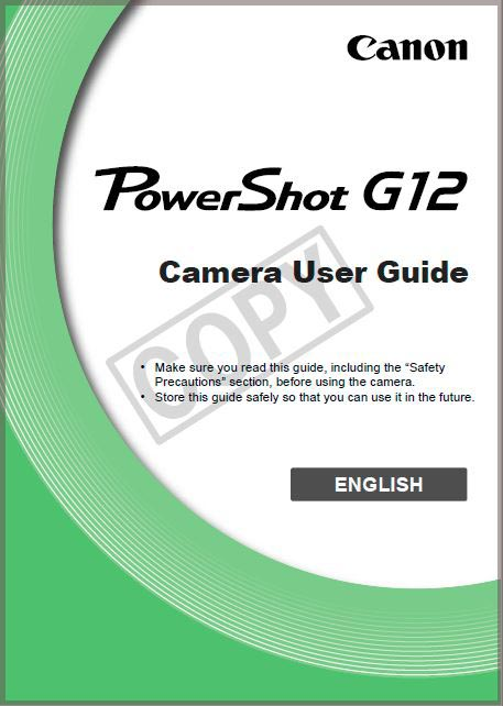 Instruction Manual for Canon G12