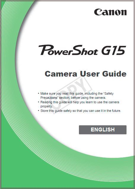 Instruction Manual for Canon G15