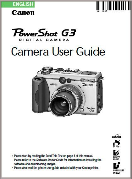 Instruction Manual for Canon G3