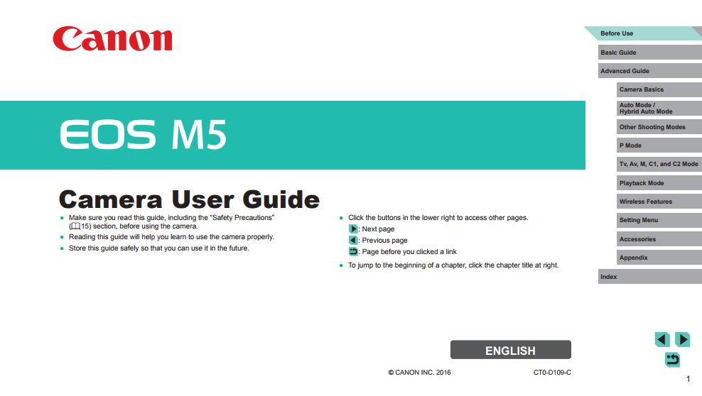 Instruction Manual for Canon EOS M5