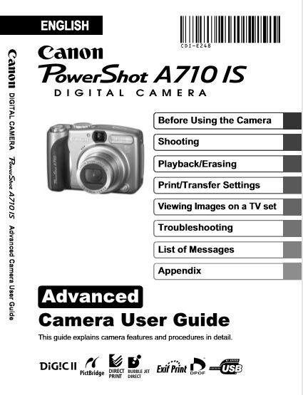 Powershot A710 User Manual