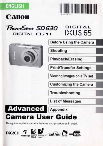 Powershot SD630 Advanced User Manual