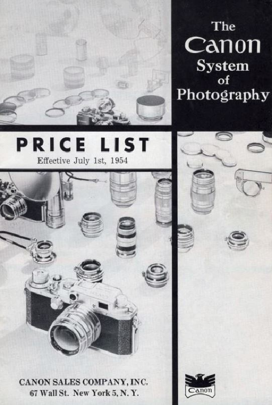 Canon Catalogue 1954