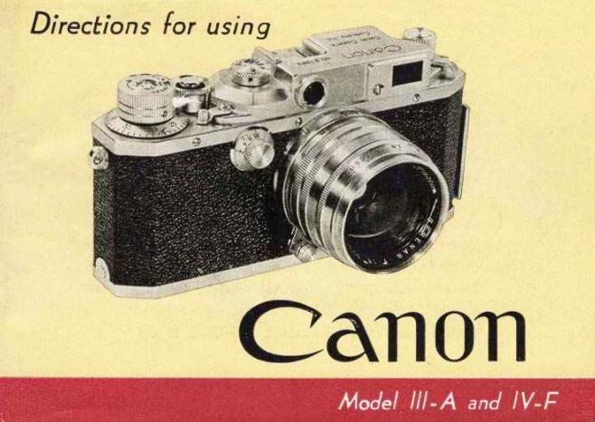 Canon Model IIIA and IV-F User Manual