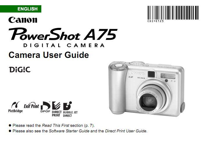Powershot A75 User Manual