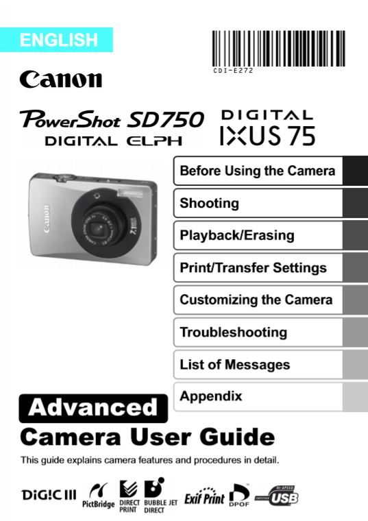 Powershot SD750 User Manual