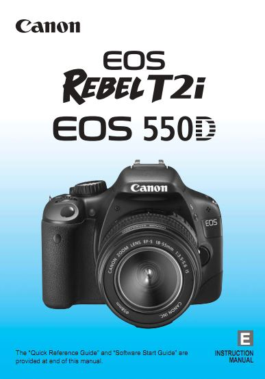 Instruction Manual for Canon EOS 550D Camera