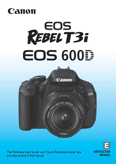 Instruction Manual for Canon EOS 600D Camera