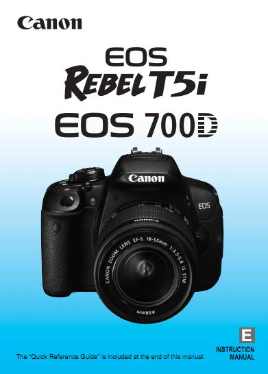 Instruction Manual for Canon EOS 700D Camera