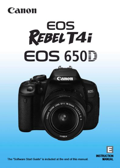Instruction Manual for Canon EOS 650D Camera