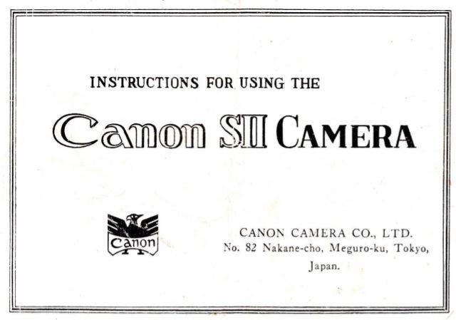 Canon Model SII User Manual
