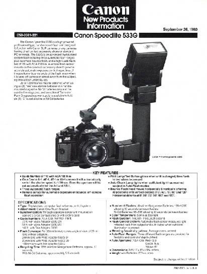 533G Speedlite Product Info