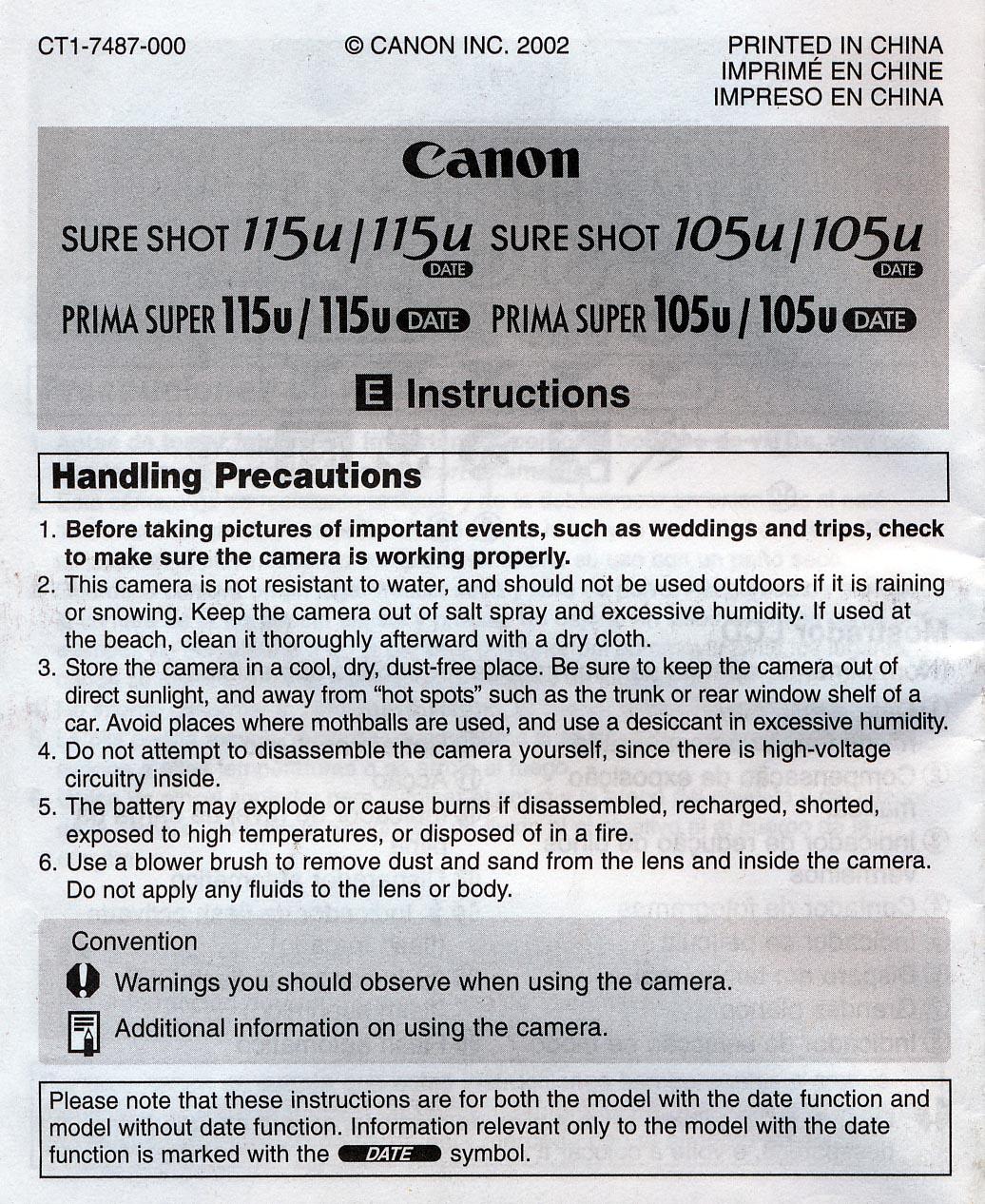 Sure Shot 115u User Manual