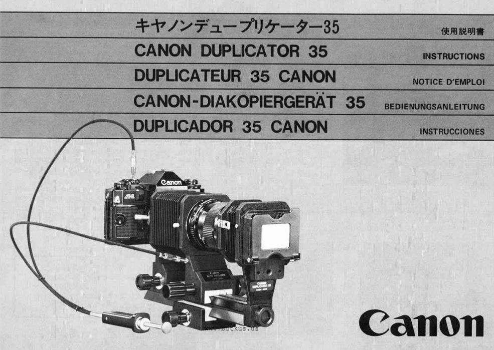 Canon Duplicator 35 Instructions