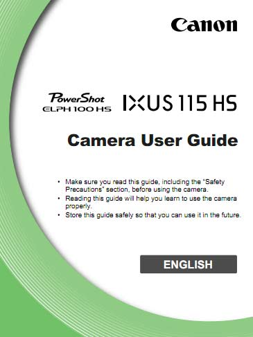 Canon Elph 100 HS Manual
