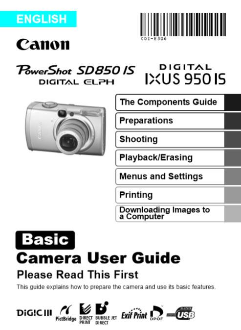 Powershot Elph SD850 Basic Manual