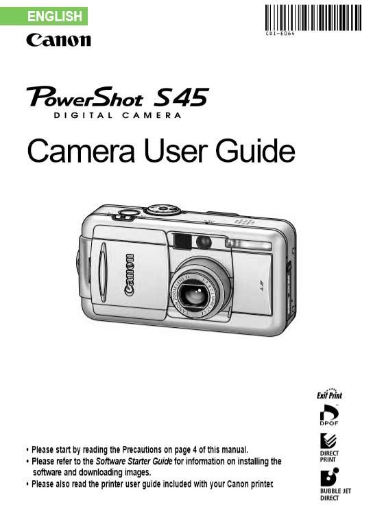 Powershot S45 User Manual