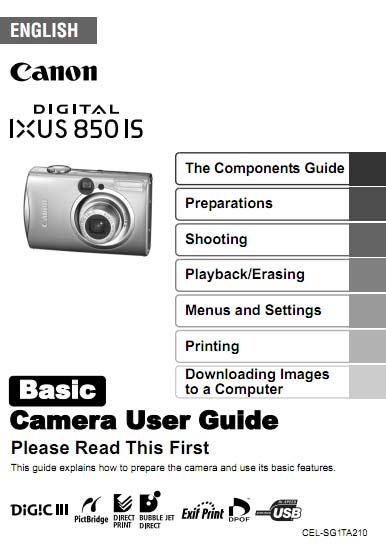 Ixus 850 IS Basic User Manual