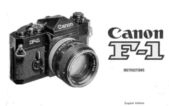 Canon F-1 User Manual