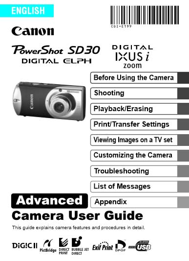 Instruction Manual for Powershot SD630 Advanced