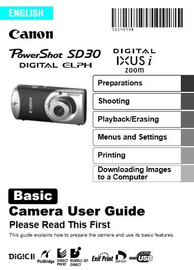 Canon PowerShot SD30 Basic Manual