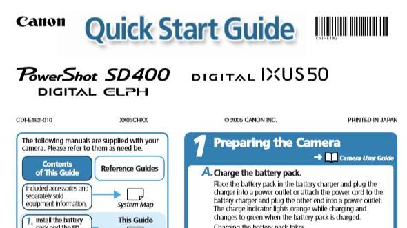 Canon PowerShot SD400 Quick Start Guide