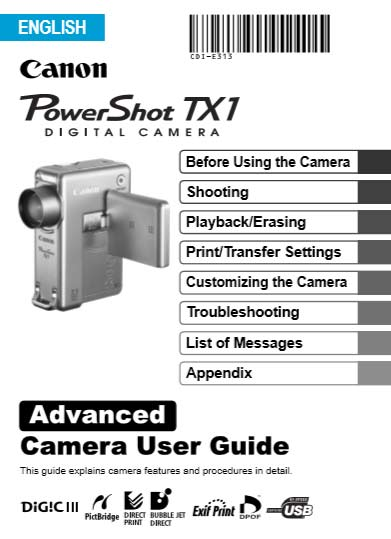 PowerShot TX1 Advanced User Guide