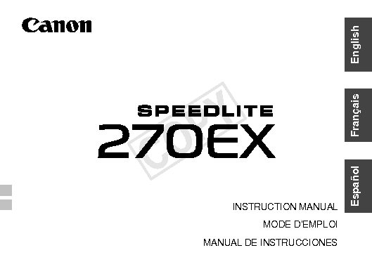 Instruction Manual for Canon Speedlite 270EX